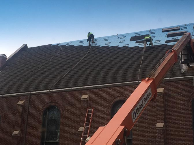 Attaching Shingles on St. Wenceslaus